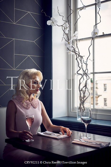 Chris Reeve BLONDE WOMAN AT RESTAURANT TABLE Women