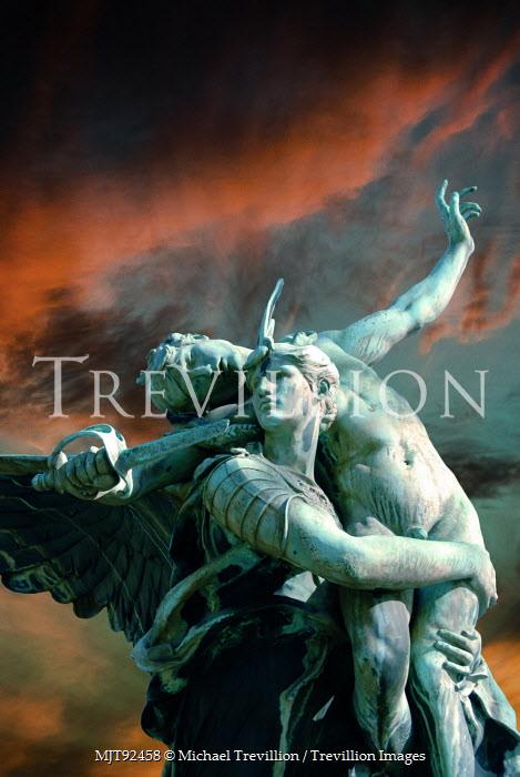 Michael Trevillion DRAMATIC MARBLE STATURE WITH STORM Statuary/Gravestones