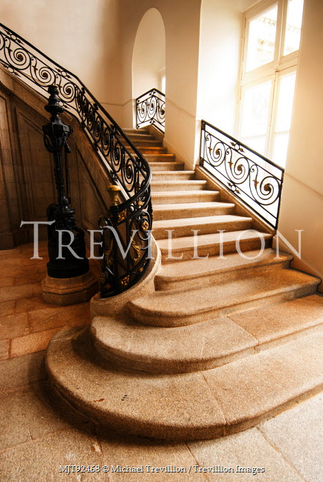 Michael Trevillion INTERIOR OF GRAND HOUSE WITH STAIRCASE Stairs/Steps