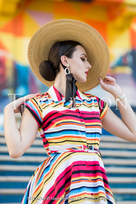 Maja Topcagic WOMAN IN HAT AND COLOURFUL DRESS Women