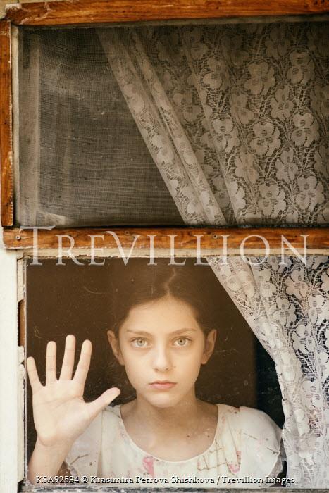 Krasimira Petrova Shishkova SERIOUS GIRL TOUCHING WINDOW Children