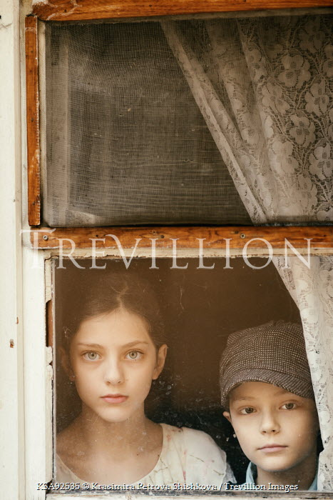 Krasimira Petrova Shishkova YOUNG GIRL AND BOY AT WINDOW Children
