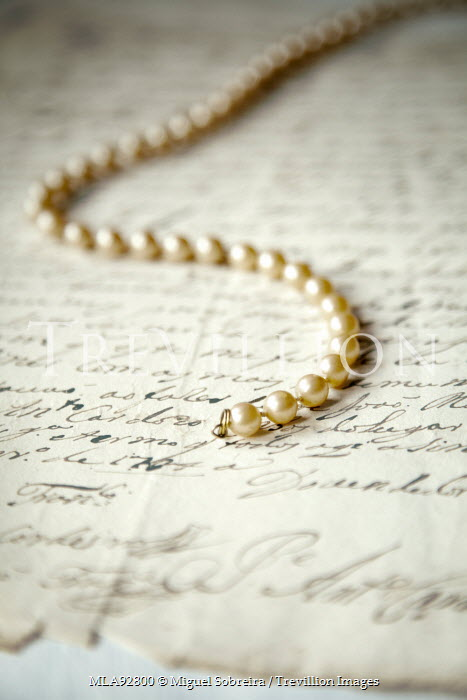 Miguel Sobreira PEARL NECKLACE ON HANDWRITTEN LETTER Miscellaneous Objects