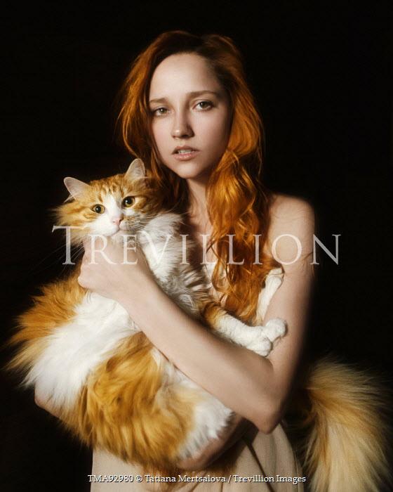Tatiana Mertsalova YOUNG WOMAN HOLDING CAT Women