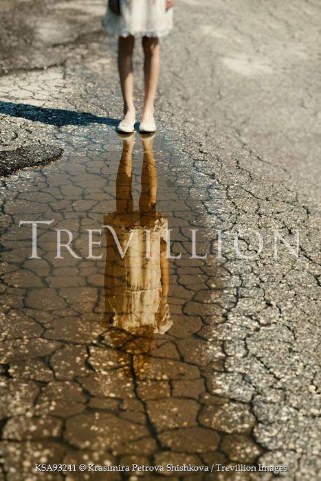 Krasimira Petrova Shishkova young girl reflected in puddle Women
