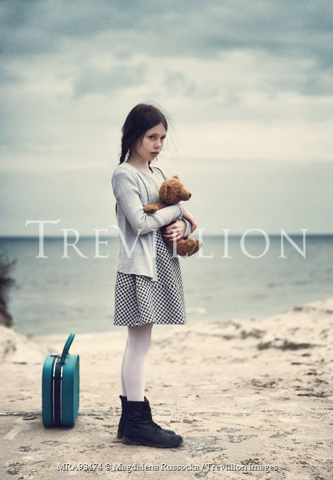 Magdalena Russocka little girl hugging teddy by sea Women