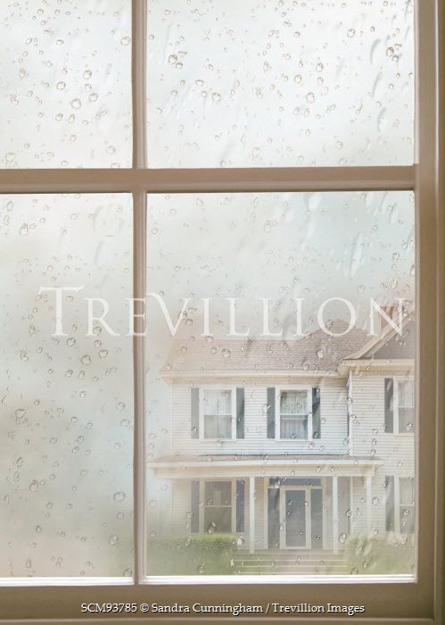 Sandra Cunningham RAINY WINDOW WITH WHITE HOUSE Houses
