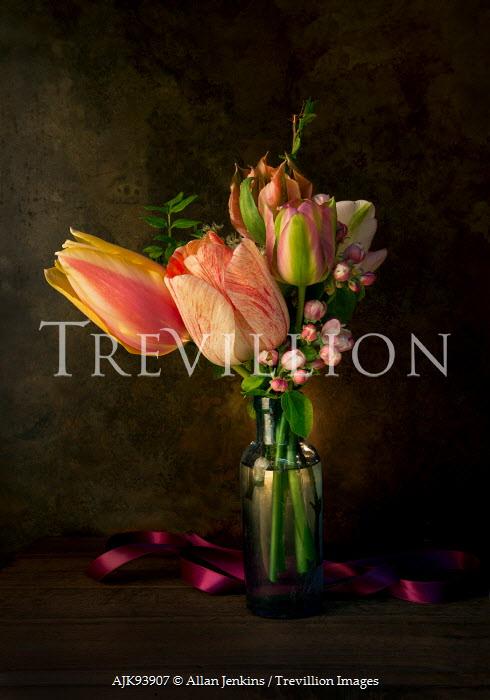 Allan Jenkins FLOWERS IN GLASS BOTTLE WITH RIBBON Flowers