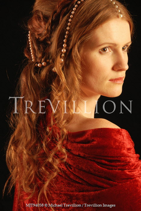 Michael Trevillion HISTORICAL WOMAN IN RED SHAWL WITH PEARLS Women