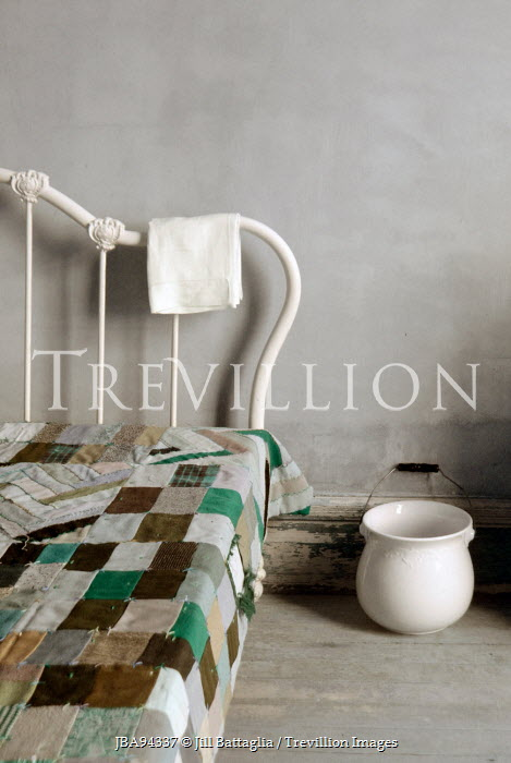 Jill Battaglia IRON BED WITH QUILT Interiors/Rooms