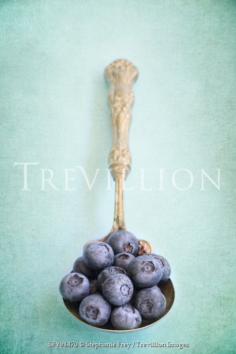 Stephanie Frey BLUEBERRIES ON ANTIQUE SPOON Miscellaneous Objects