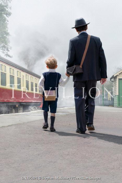 Stephen Mulcahey 1940S MAN WITH SON BY TRAIN Children