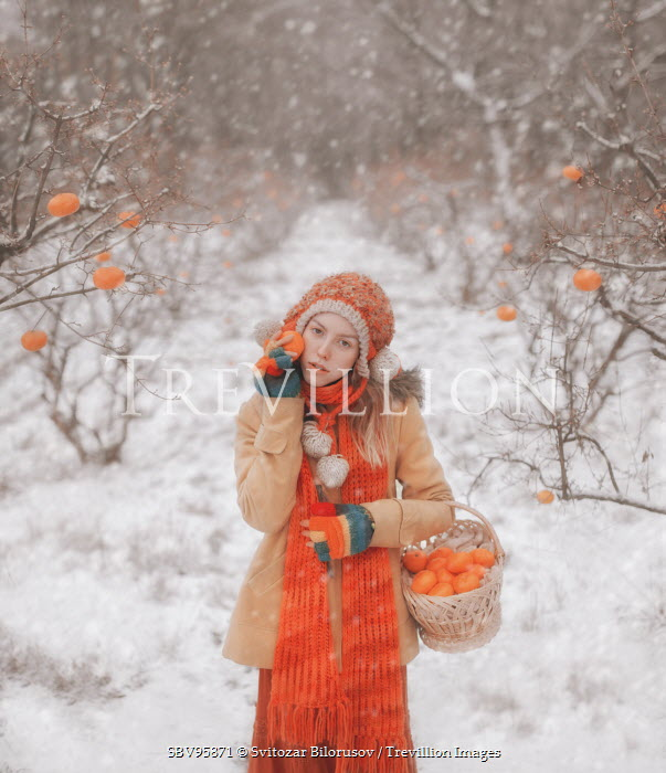 Svitozar Bilorusov GIRL COLLECTING CLEMENTINES IN SNOW Women