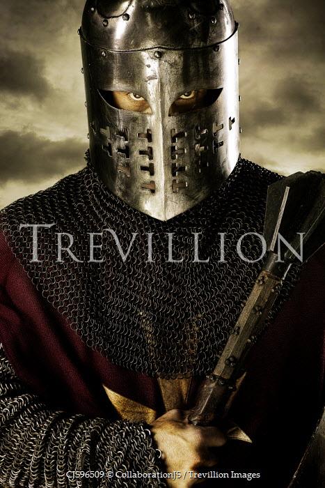 CollaborationJS A knight wearing a helmet holding a axe Men