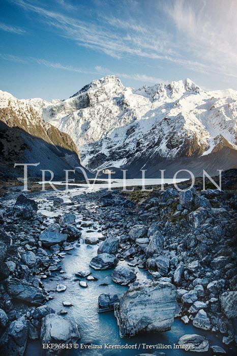 Evelina Kremsdorf SNOWY MOUNTAINS WITH ROCKS AND RIVER Rocks/Mountains