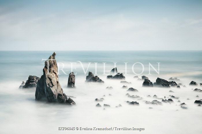 Evelina Kremsdorf JAGGED ROCKS IN FOGGY SEA Seascapes/Beaches