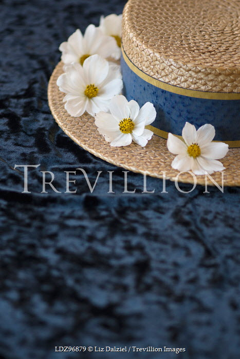 Liz Dalziel STRAW HAT WITH WHITE FLOWERS Miscellaneous Objects