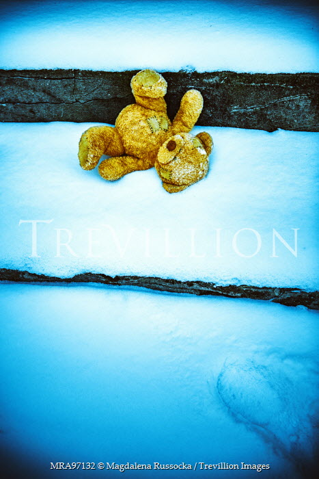 Magdalena Russocka teddy bear on stone steps in snow Miscellaneous Objects