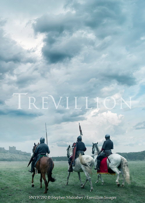 Stephen Mulcahey Three medieval knights on horseback Groups/Crowds