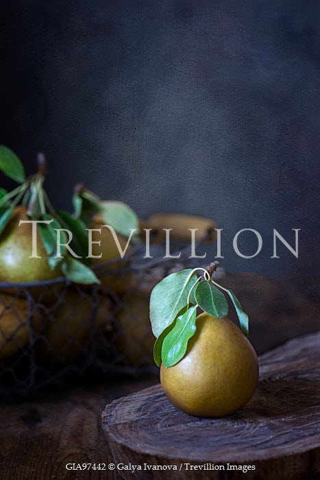 Galya Ivanova PEARS IN BASKET AND ON WOODEN BOARD Miscellaneous Objects