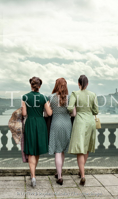 Stephen Mulcahey THREE 1940S WOMEN WALKING ON BRIDGE Groups/Crowds