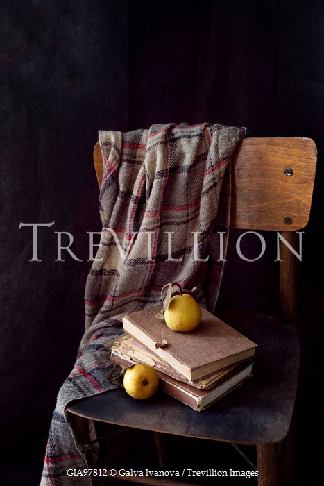Galya Ivanova PEARS BOOKS AND SHAWL ON CHAIR Miscellaneous Objects