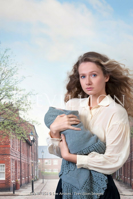 Lee Avison young victorian woman holding her baby on a terraced street Women