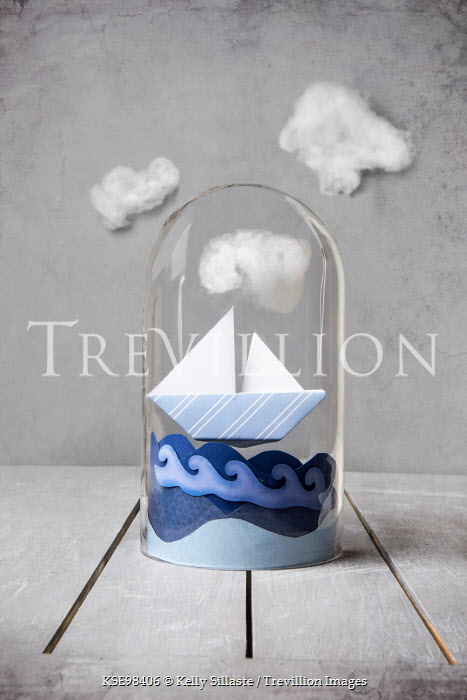 Kelly Sillaste PAPER BOAT UNDER DOME WITH CLOUDS Miscellaneous Objects