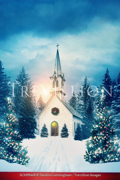 Sandra Cunningham CHAPEL IN SNOW WITH CHRISTMAS LIGHTS Religious Buildings