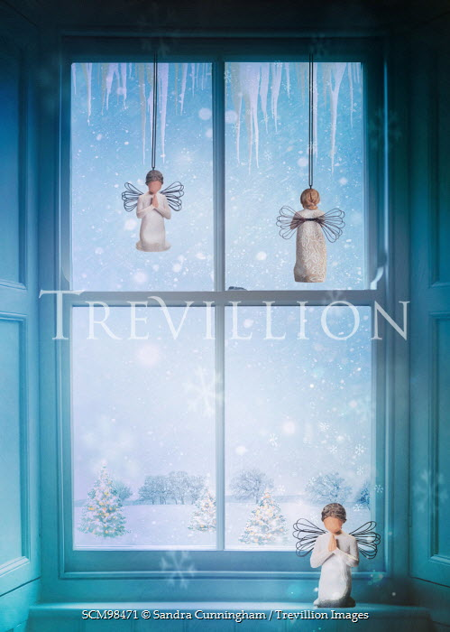 Sandra Cunningham ANGELS IN WINDOW WITH SNOW Miscellaneous Objects
