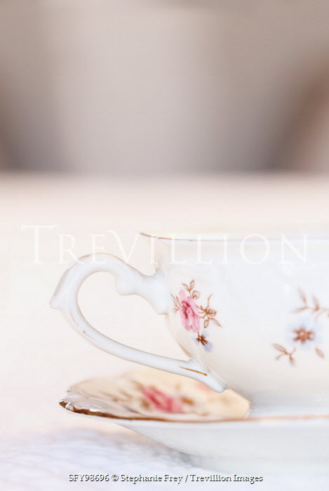 Stephanie Frey CLOSE UP OF PINK FLORAL TEACUP Miscellaneous Objects