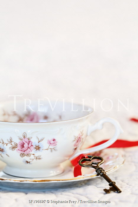 Stephanie Frey Key on ribbon with china teacup Miscellaneous Objects