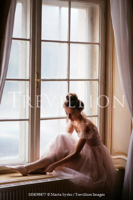Marta Syrko GIRL IN CHIFFON SITTING BY WINDOW Women