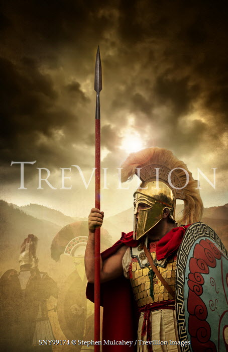Stephen Mulcahey Spartan soldiers in storm with mountains Groups/Crowds