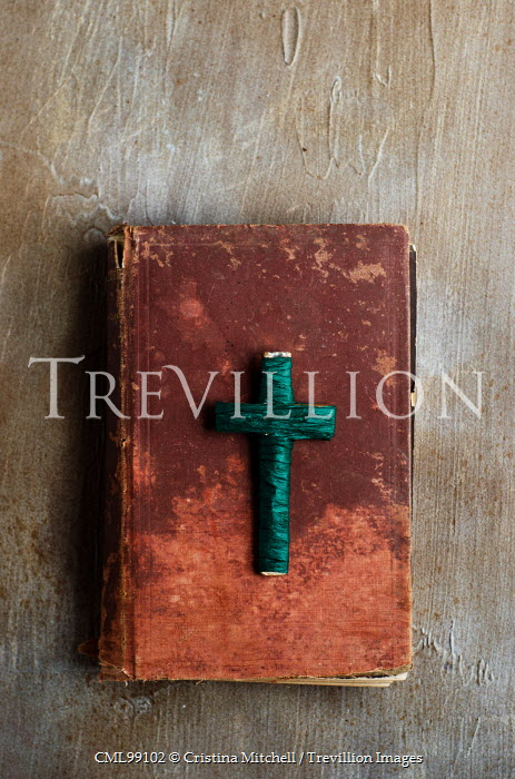 Cristina Mitchell OLD BIBLE WITH TURQUOISE CRUCIFIX Miscellaneous Objects