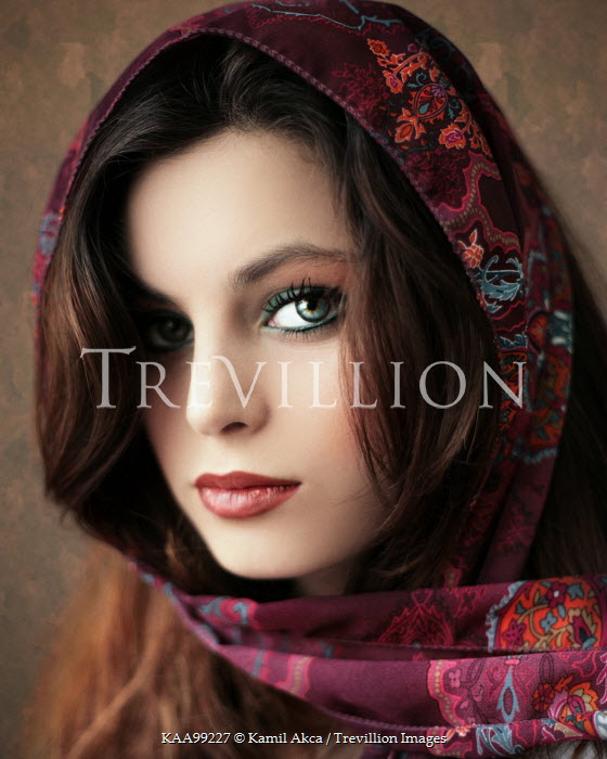 Kamil Akca CLOSE UP OF GIRL WITH PATTERNED HEADSCARF Women