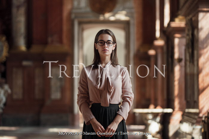 Maxim Guselnikov GIRL IN GLASSES STANDING IN PALACE Women
