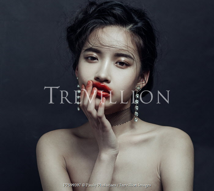 Pauly Pholwises ASIAN WOMAN WITH SMEARED LIPSTICK Women