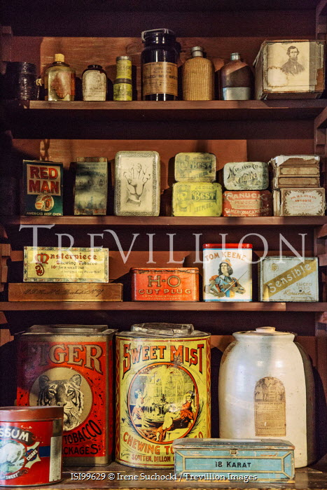 Irene Suchocki VINTAGE TOBACCO TINS ON SHOP SHELVES Miscellaneous Objects