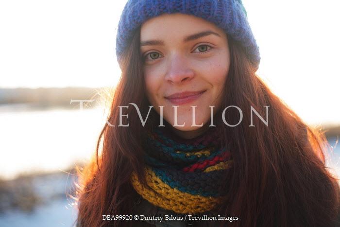 Dmitriy Bilous HAPPY GIRL IN HAT AND SCARF OUTDOORS Women