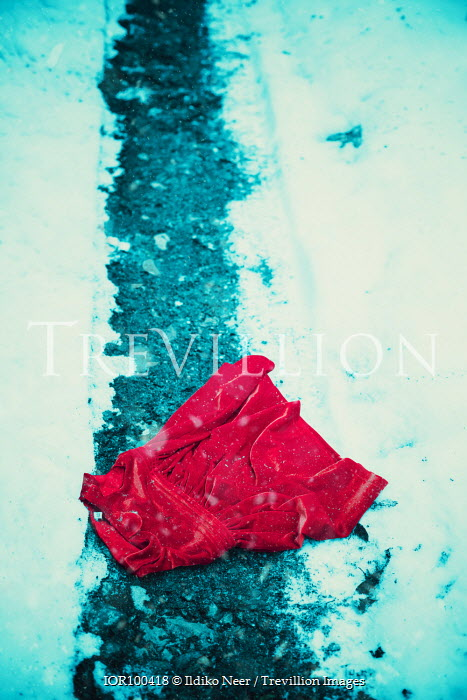 Ildiko Neer Child's red dress in snow