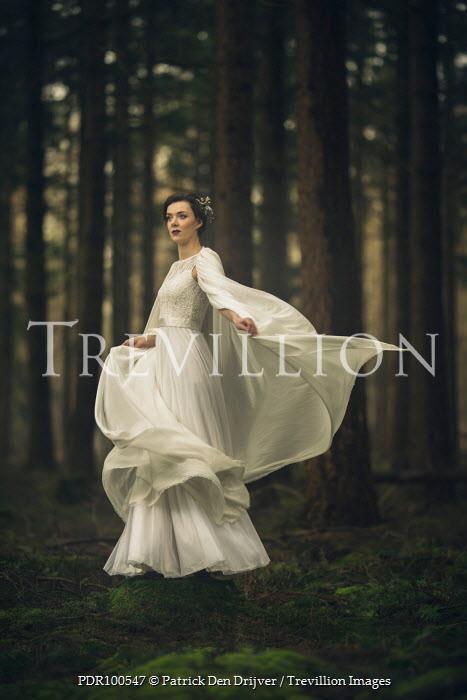 Patrick Den Drijver WOMAN IN WHITE DRESS STANDING IN FOREST Women