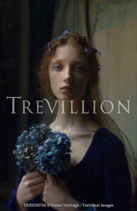 Daniel Murtagh HISTORICAL WOMAN HOLDING BLUE FLOWERS Women