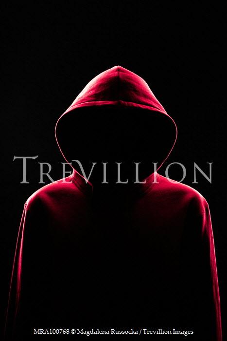 Magdalena Russocka faceless man wearing red hoodie in shadow