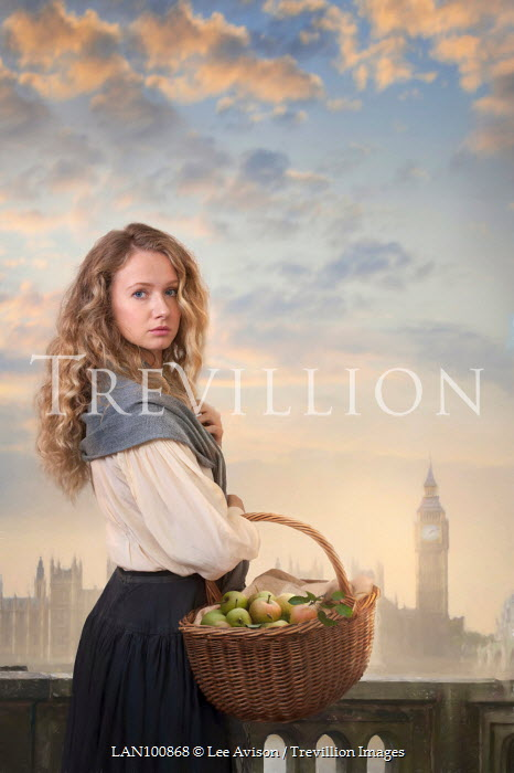 Lee Avison WOMAN WITH FRUIT BASKET IN LONDON Women