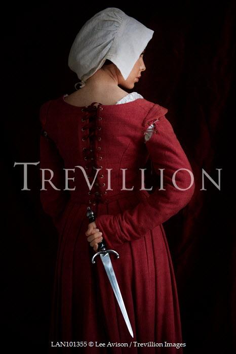 Lee Avison historical servant woman with dagger behind back Women