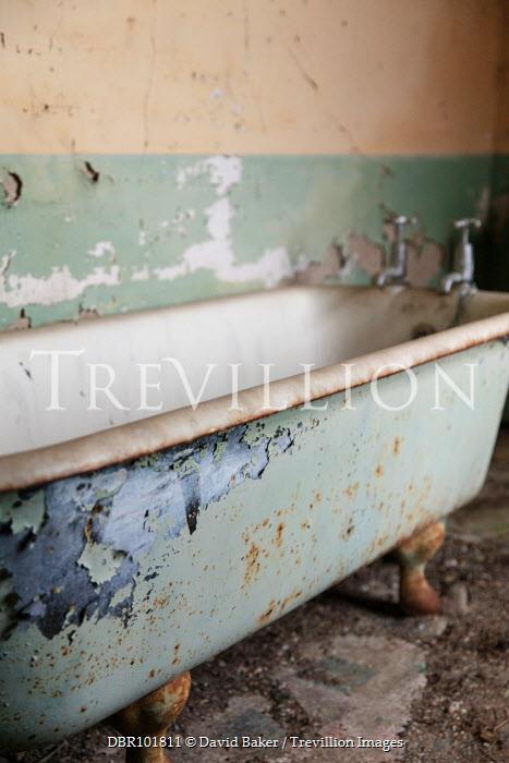 David Baker OLD BATH IN DERELICT HOUSE Interiors/Rooms