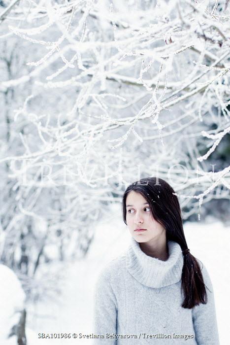 Svetlana Bekyarova WOMAN STANDING UNDER SNOW COVERED TREE Women