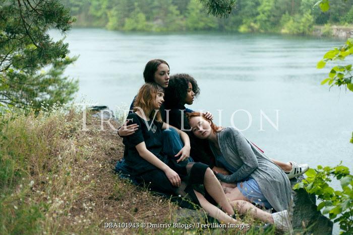 Dmitriy Bilous FOUR TEENAGE FRIENDS SITTING NEAR RIVER Women