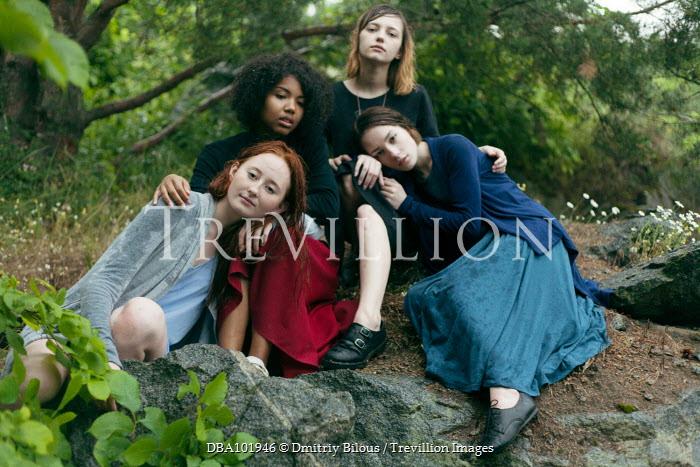 Dmitriy Bilous FOUR TEENAGE FRIENDS SITTING UNDER TREE Women